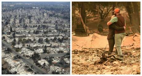 Structures destroyed     Tubbs Fire:  5,643    Camp Fire:  7,746 as of Nov. 12   Photos: Left, a view of hundreds of homes destroyed in the Coffee Park neighborhood on Oct. 11, 2017. Right, Chris and Nancy Brown embrace while looking over the remains of their burned Paradise residence after the Camp Fire.