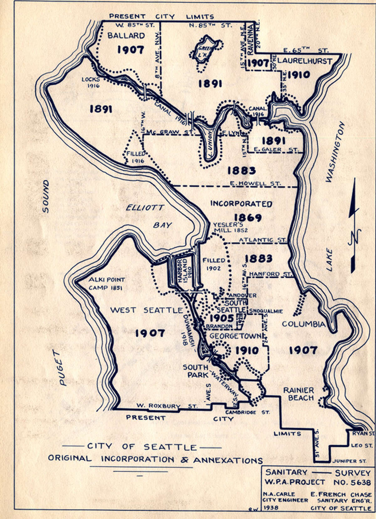 What were Seattle's earliest neighborhoods? It doesn't take a major sleuth to figure out some of it, but we consulted this 1938 Works Progress Administration map showing Seattle's annexations to date at that time to come up with a list of some accuracy. The exact beginnings of some neighborhoods are hard to nail down, and the whole area was already inhabited by Native Americans long before even the earliest explorers sailed Puget Sound. We'll focus here on the parts of the city where the incoming white people opted to live and develop cities and neighborhoods. One note on this map, readers will notice that the northern boundary of the city was North 85th Street at that time, while it now extends to North 145th Street.