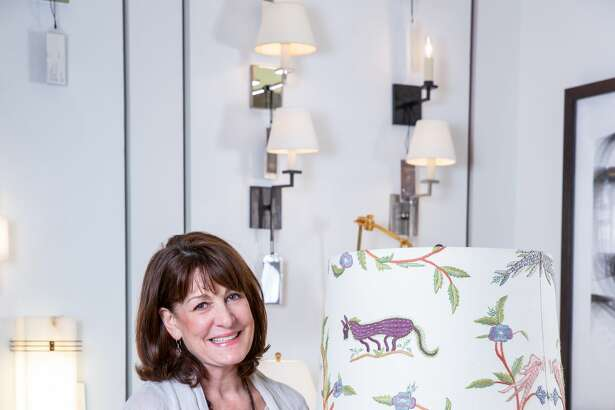 Houston interior designer created this unique lampshade for Vaughan's Truro Twig lamp.