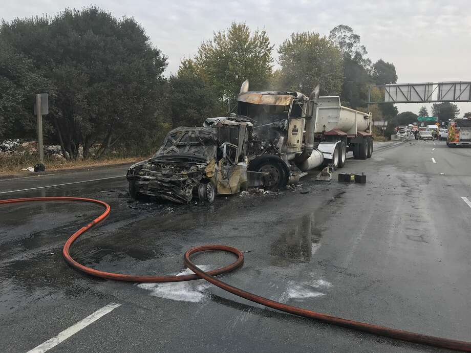 The CHP has closed the northbound lanes Highway 1 from the Highway 17 on-ramp all the way to River Street in Santa Cruz.