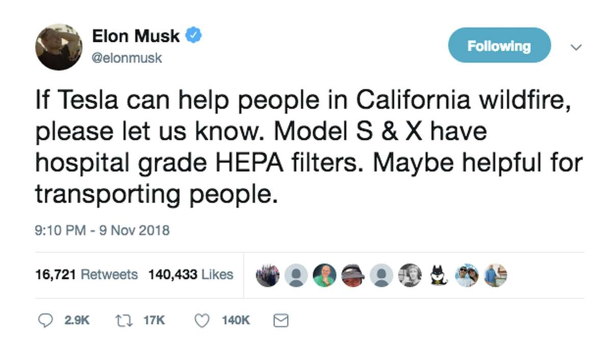 Elon Musk tweeted Friday asking how Tesla could help with California wildfire relief. Social media had some thoughts.