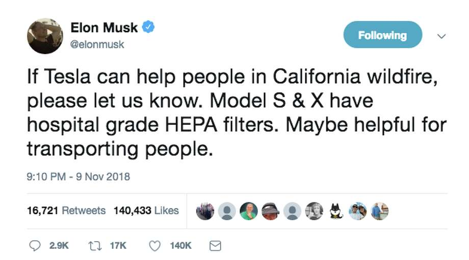 Elon Musk tweeted Friday asking how Tesla could help with California wildfire relief. Social media had some thoughts. Photo: Twitter Screen Grab
