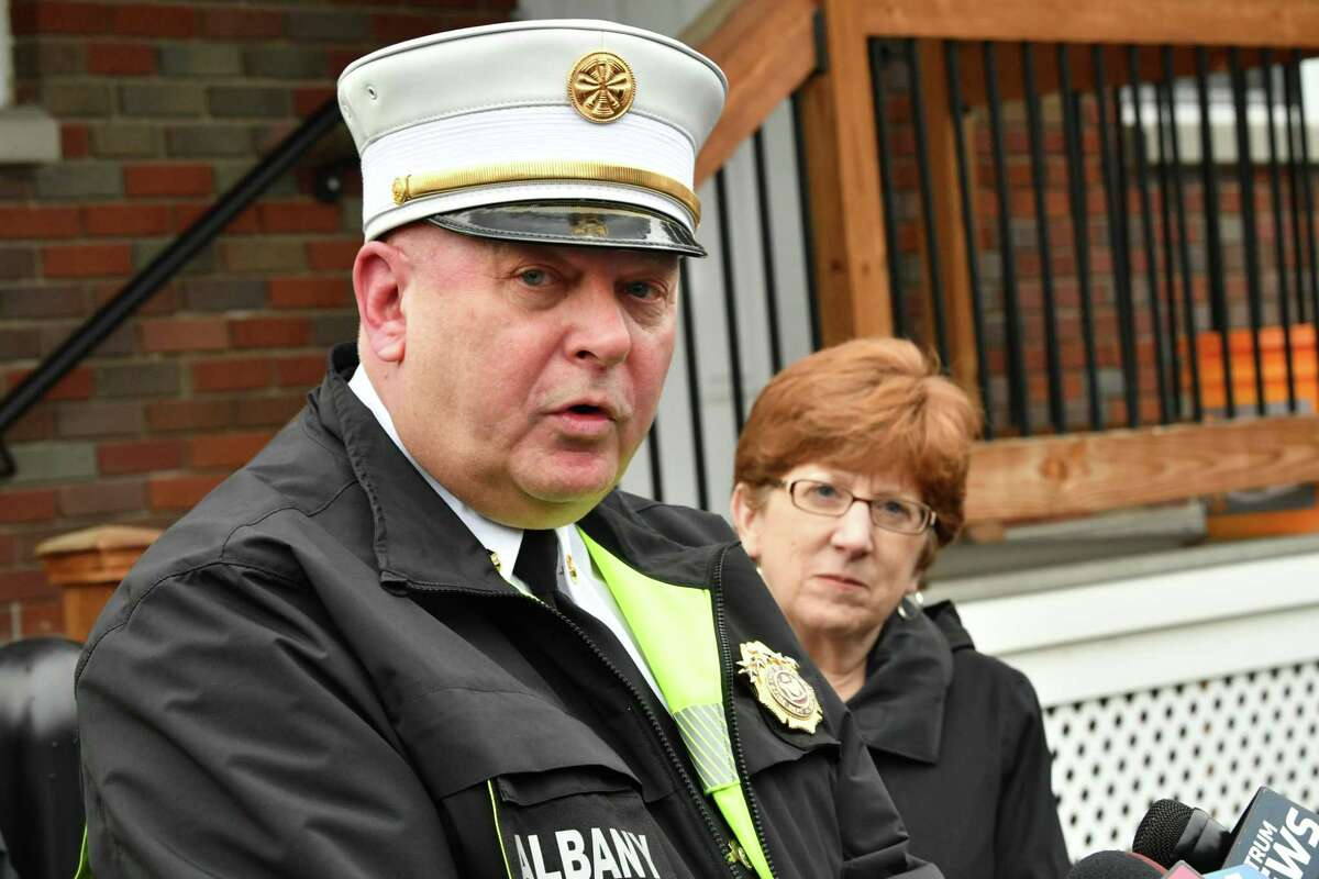 Albany Fire Chief Joseph Gregory, speaking, along with Albany Police Chief Eric Hawkins, members of New York State Office of Fire Prevention and Control and Albany Mayor Kathy Sheehan, right, discuss a fire prevention outreach campaign at Saint Rose Safety & Security Headquarters on Tuesday, Nov. 13, 2018 in Albany, N.Y. The fire prevention and safety measures were made so residents can take in the wake of the recent fires, including the Pine Hills fire on Quail Street in late September. (Lori Van Buren/Times Union)