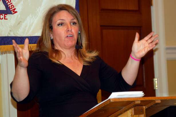 """Connecticut resident Chandra Bozelko, a former prisoner in the state, has become a syndicated columnist and creator of the """"Prison Diaries"""" website. She spoke last week before the Retired Men's Association of Greenwich about the need for prison reform."""
