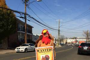 Food Bank volunteer Chuck Keeler holding up a sign on Glenbrook Road this week outside Food Bank headquarters asking drivers to drop off turkeys for the needy.