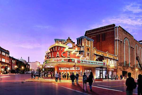 A rendering of the expanded Palace Theatre, looking from the North Pearl Street-Clinton Avenue intersection. To the far right is a proposed new, 600-seat theater. (Finegold Alexander Architects.)