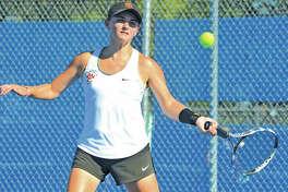 Edwardsville senior Abby Cimarolli earned All-SWC honors in doubles with partner Natalie Karibian.