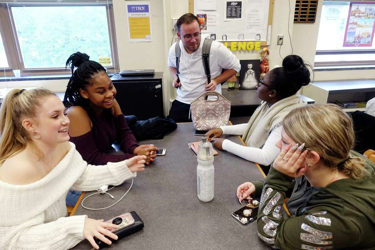 Troy High School seniors, from left to right, Olivia MacGregor, Avisha Pinder, Nicco Perrotti, Pamela Nomessi, and Maria Missenis, take part in the academic tutoring session for students in the Capital Region Sponsor a Scholar program on Thursday, Oct. 25, 2018, in Troy, N.Y. (Paul Buckowski/Times Union)