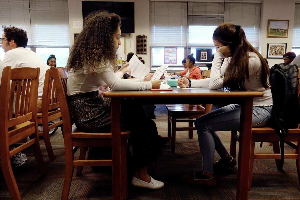 Troy High School Students, Kellice Foley, left, and Gigi Kataoka, both sophomores, take part in the academic tutoring session for students in the Capital Region Sponsor a Scholar program on Thursday, Oct. 25, 2018, in Troy, N.Y. (Paul Buckowski/Times Union)