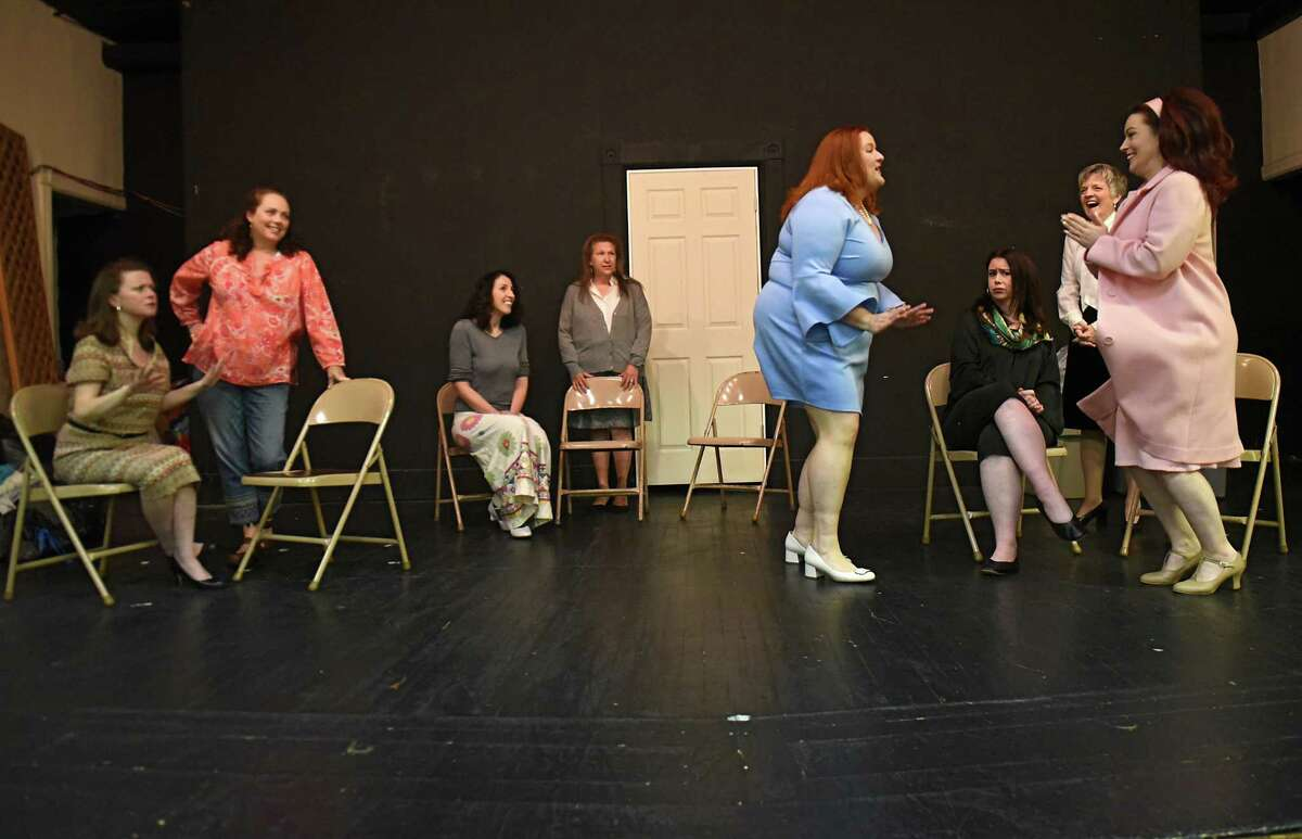 From left, Sarah Politis, Susan Palm Siplon, Rachel Pearlman, Julie Nordwind, J.J. Paul, Jill Clark, Lori Porter and Sara Falvo are seen during rehearsal with the Callaloo Theater Company at Christ Church United Methodist on Thursday, Oct. 18, 2018 in Troy, N.Y. (Lori Van Buren/Times Union)