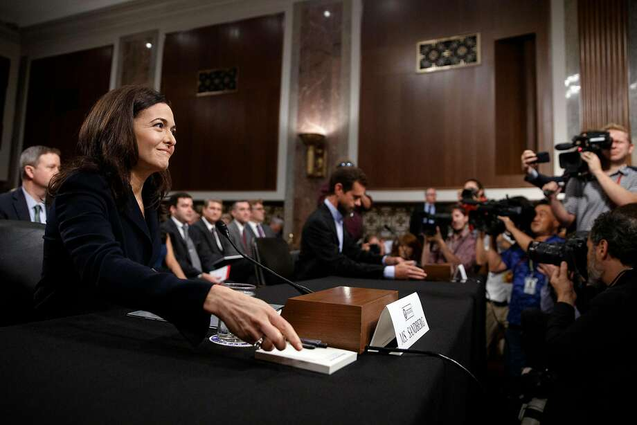 Sheryl Sandberg, Facebook's chief operating officer, and Twitter CEO Jack Dorsey appear before the Senate Intelligence Committee in September. Photo: Tom Brenner / New York Times
