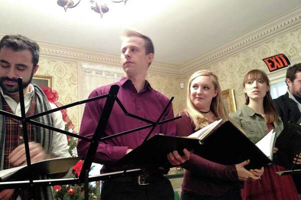 """Members of Valley Shakespeare Festival rehearse for their """"Christmas Carol"""" reading."""