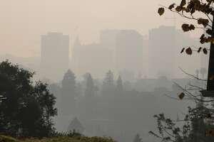 Smoke blankets Oakland on Monday, Nov. 12, 2018, in Oakland, Calif.