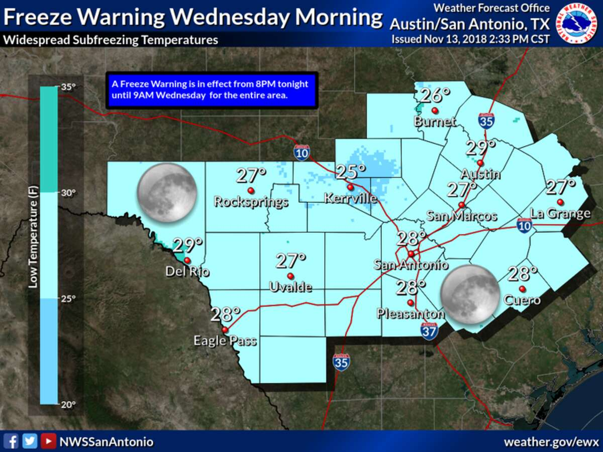 The National Weather Service is predicting a widespread freeze Tuesday night and Wednesday morning.