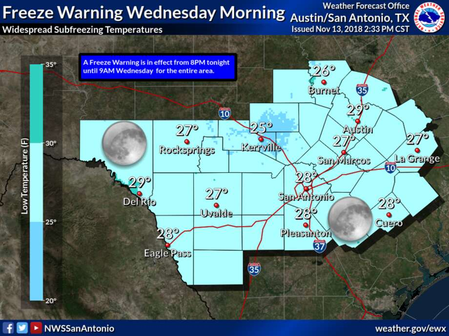 The National Weather Service is predicting a widespread freeze Tuesday night and Wednesday morning. Photo: Courtesy Of National Weather Service