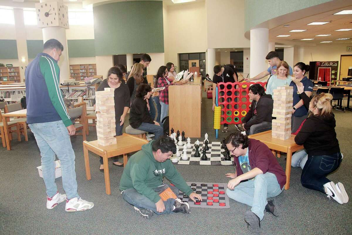 A Pasadena High School librarian used money for a grant to provide oversized games to help make the library more inviting and interesting for students.