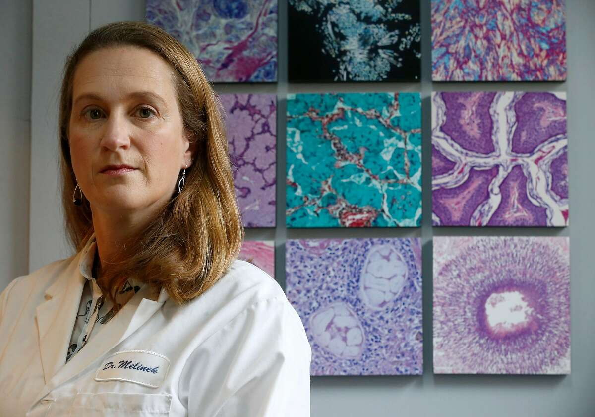 """Pathologist Dr. Judy Melinek is seen at her office in San Francisco, Calif. on Tuesday, Nov. 13, 2018. Dr. Melinek's response to an NRA comment that doctors should """"stay in their lane"""" regarding gun violence went viral after she tweeted it on Friday."""