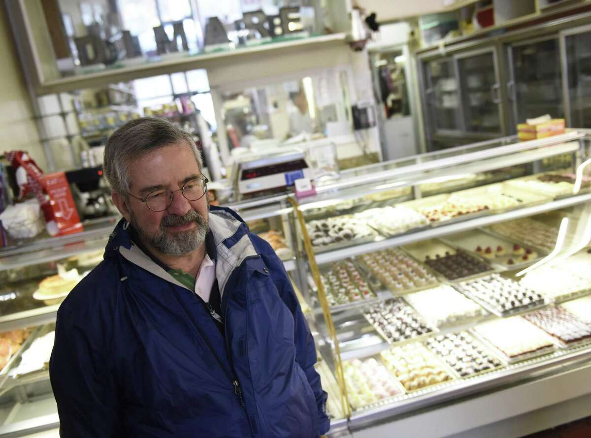 Riverside regular customer Joe Incorvaia is sad to hear the news of the closing at DiMare Pastry Shop in the Riverside section of Greenwich, Conn. Tuesday, Nov. 13, 2018. DiMare is closing the doors for its shop in the Riverside Commons shopping center when its lease is up in early January, but will remain open at 12 Largo Dr. in Stamford.