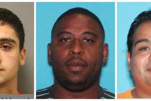 """Eric Hassan Khorshidpanah, 22, John Leonard Atkins, 35, and Juan Israel Diaz, 41 are accused of """"clean scanning"""" customers' vehicles during inspections at Katy Sticker Inspection in the 2900 block of Katy Hockley Cut Off."""