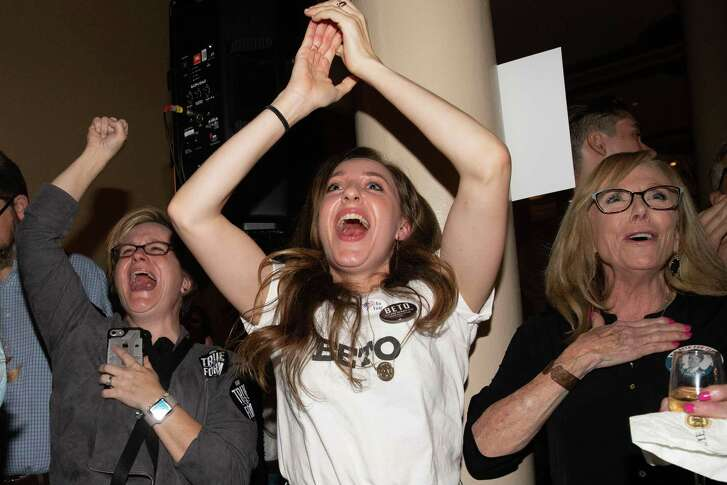 Women cheer as they watch election results at the Democrat Election Night Party  in Austins. A reader says that many voters who are centrists had no one to vote or cheer for.