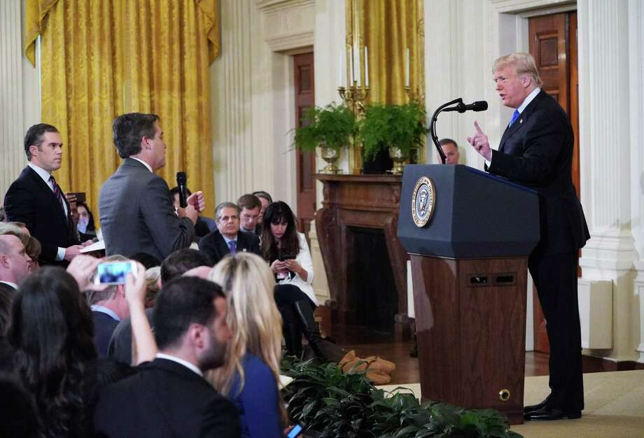 President Donald Trump gets into a heated exchange with CNN chief White House correspondent Jim Acosta in the East Room of the White House on Nov. 7. Acosta had his press credentials pulled as a result. Photo: MANDEL NGAN /AFP /Getty Images / AFP or licensors