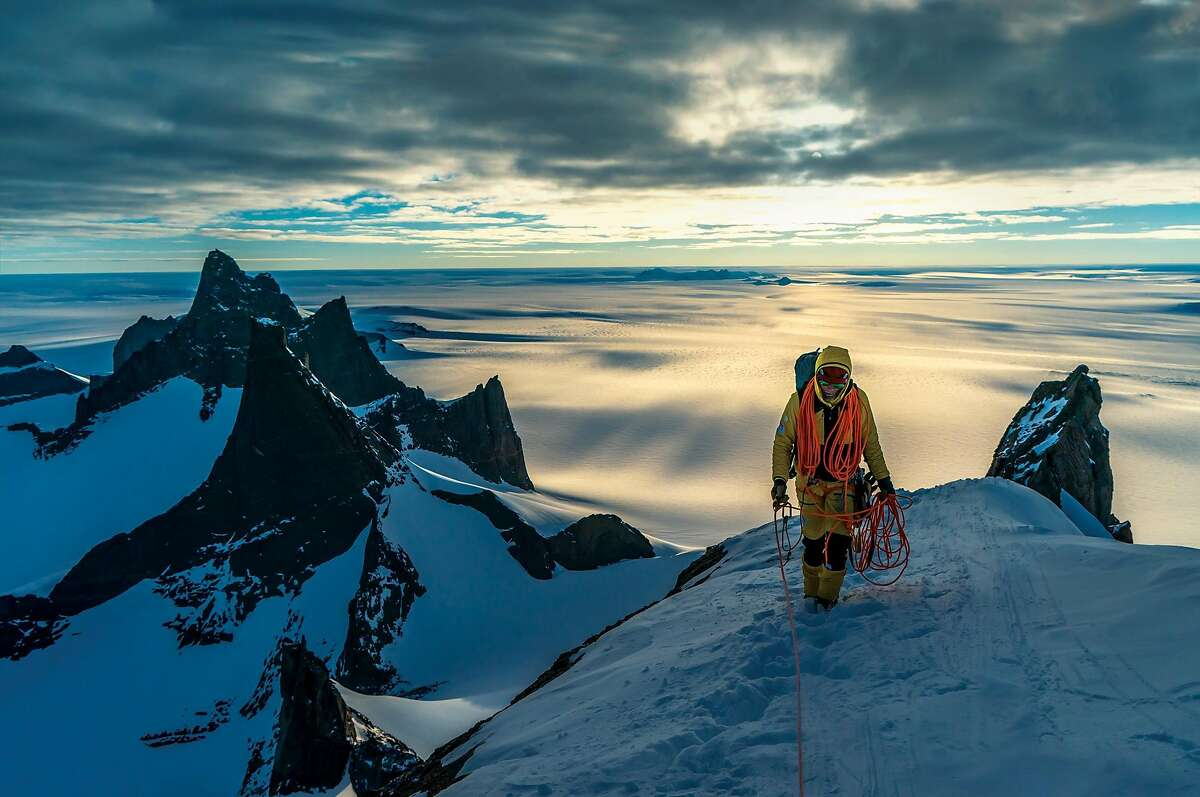 Climber Conrad Anker hikes along a ridge in Antarctica during filming of the 2018 documentary