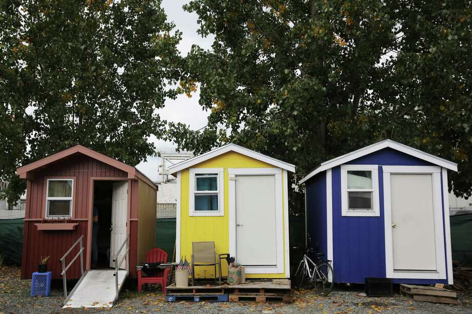 Houses in the Nickelsville Georgetown tiny house village, Oct. 29, 2018. Photo: GENNA MARTIN, SEATTLEPI.COM / SEATTLEPI.COM