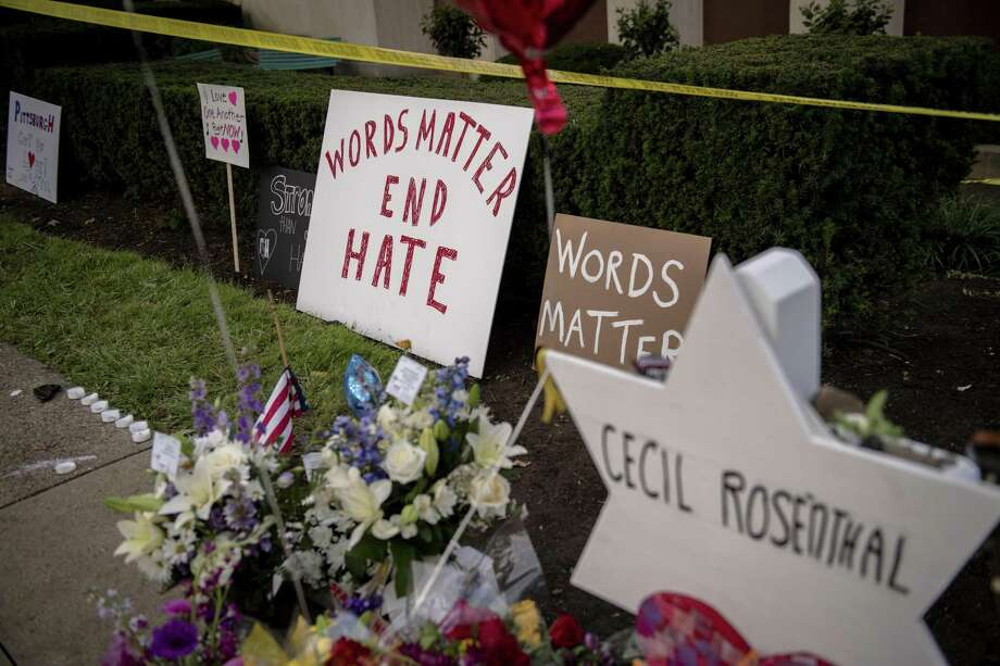 FILE -- The memorial site for the 11 victims killed by a shooter at Tree of Life Congregation in Pittsburgh, Oct. 31, 2018. Hate crime increased 17 percent last year from 2016, the FBI said on Nov. 13, 2018, rising for the third consecutive year as heated racial rhetoric and actions have come to dominate the news. (Hilary Swift/The New York Times) Photo: HILARY SWIFT, STR / NYT / NYTNS