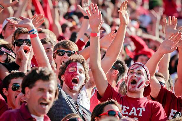 Stanford students wave goodbye to the Cal students after they beat Cal in the Big Game at Memorial Stadium in Berkeley, Calif., on Saturday, Oct.20th, 2012