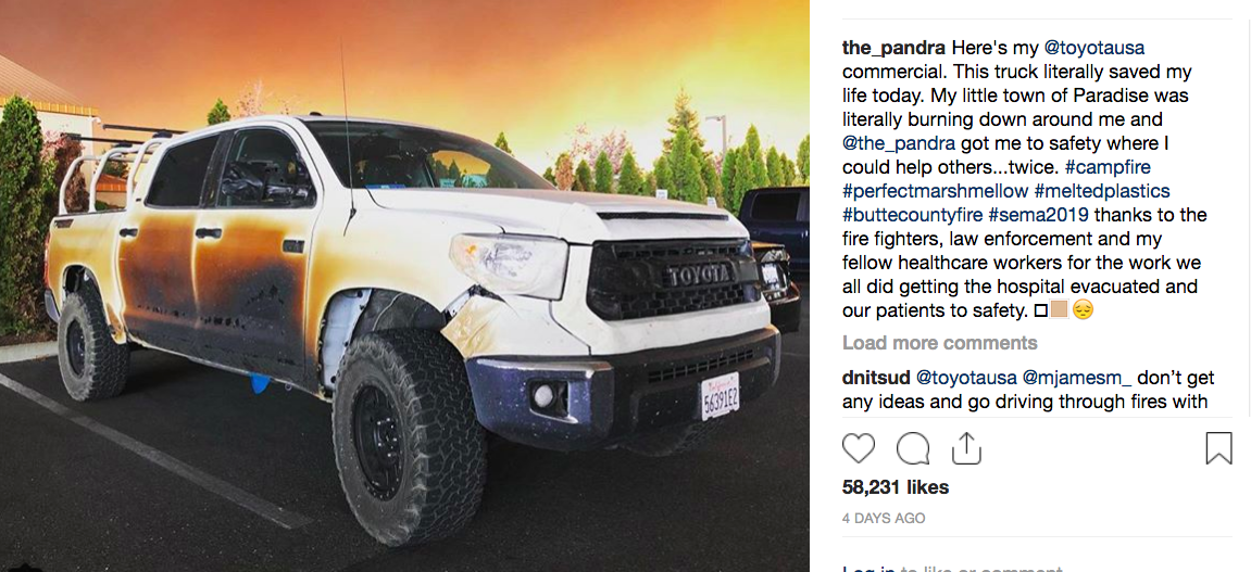 Nurse Whose Tundra Was Damaged In Camp Fire To Get New