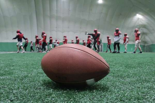 The Glens Falls Indians varsity football team warms up during practice at Adirondack Sports Complex in Queensbury Tuesday, November 13, 2018. The Indians face Marlboro for the Class B state semifinal Saturday in Middletown. (Ed Burke photo-Special to the Times Union)