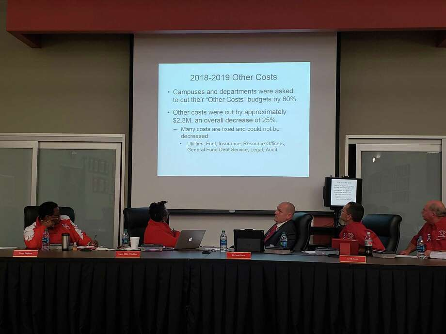 Crosby ISD Board Members look at the percent of expenses cut from the 2018-19 amended budget during their regular meeting on Nov. 12, 2018. Photo: Kaila Contreras