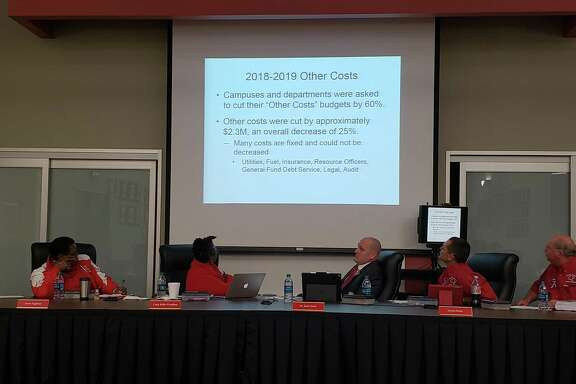 Crosby ISD Board Members look at the percent of expenses cut from the 2018-19 amended budget during their regular meeting on Nov. 12, 2018.