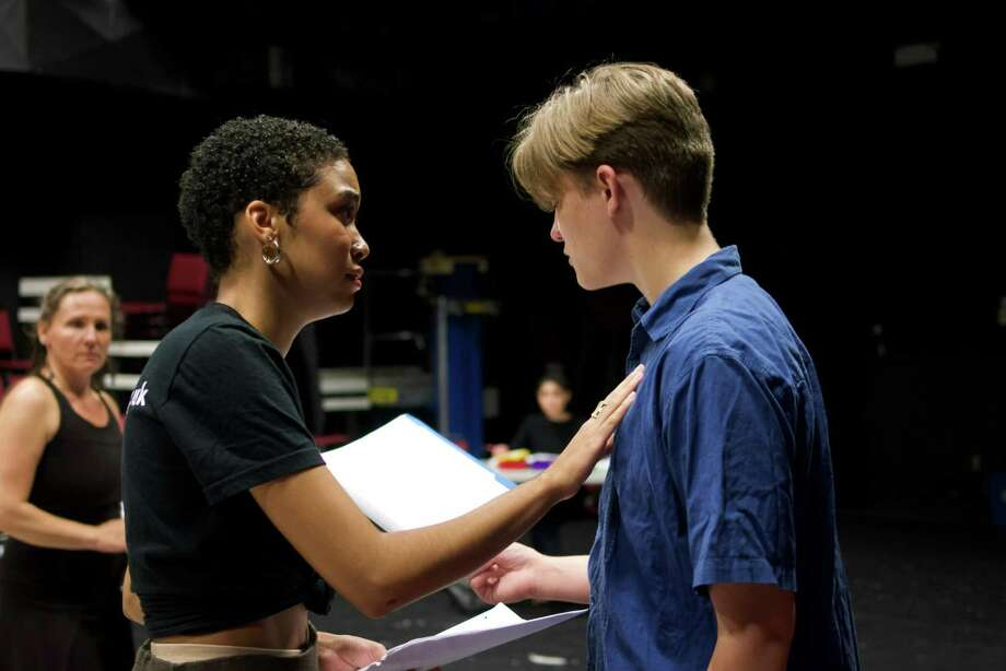 "Oddfellows Playhouse Teen Repertory Company will present ""Antigone"" Nov. 29-Dec. 1 and Dec. 7-8 in Middletown. Above, Malenky Welsh as Antigone and Rowan Trowbridge-Wheeler as Creon rehearse a scene. Photo: Contributed Photo /"