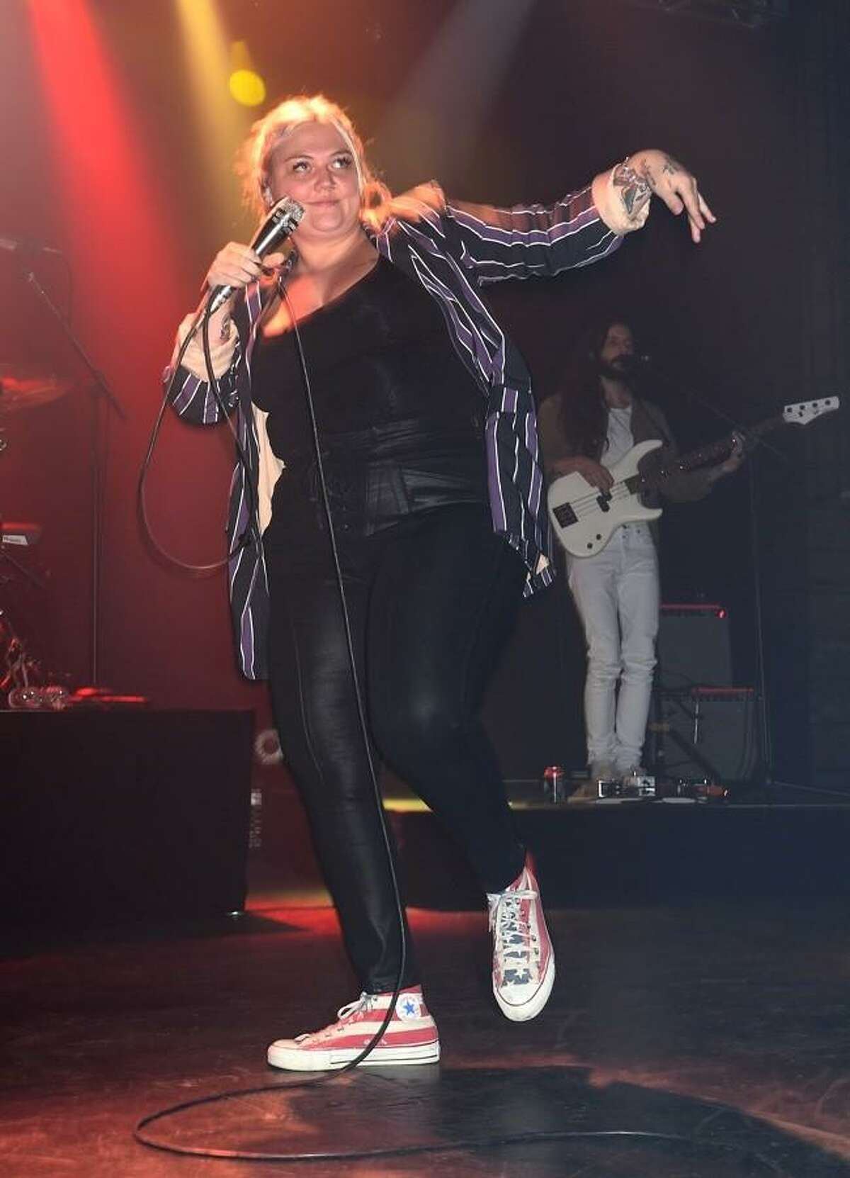 Singer, songwriter, and actress Elle King is shown dancing on stage during her Nov. 3 performance at the College Street Music Hall in New Haven. In 2012, King released her debut EP, ?