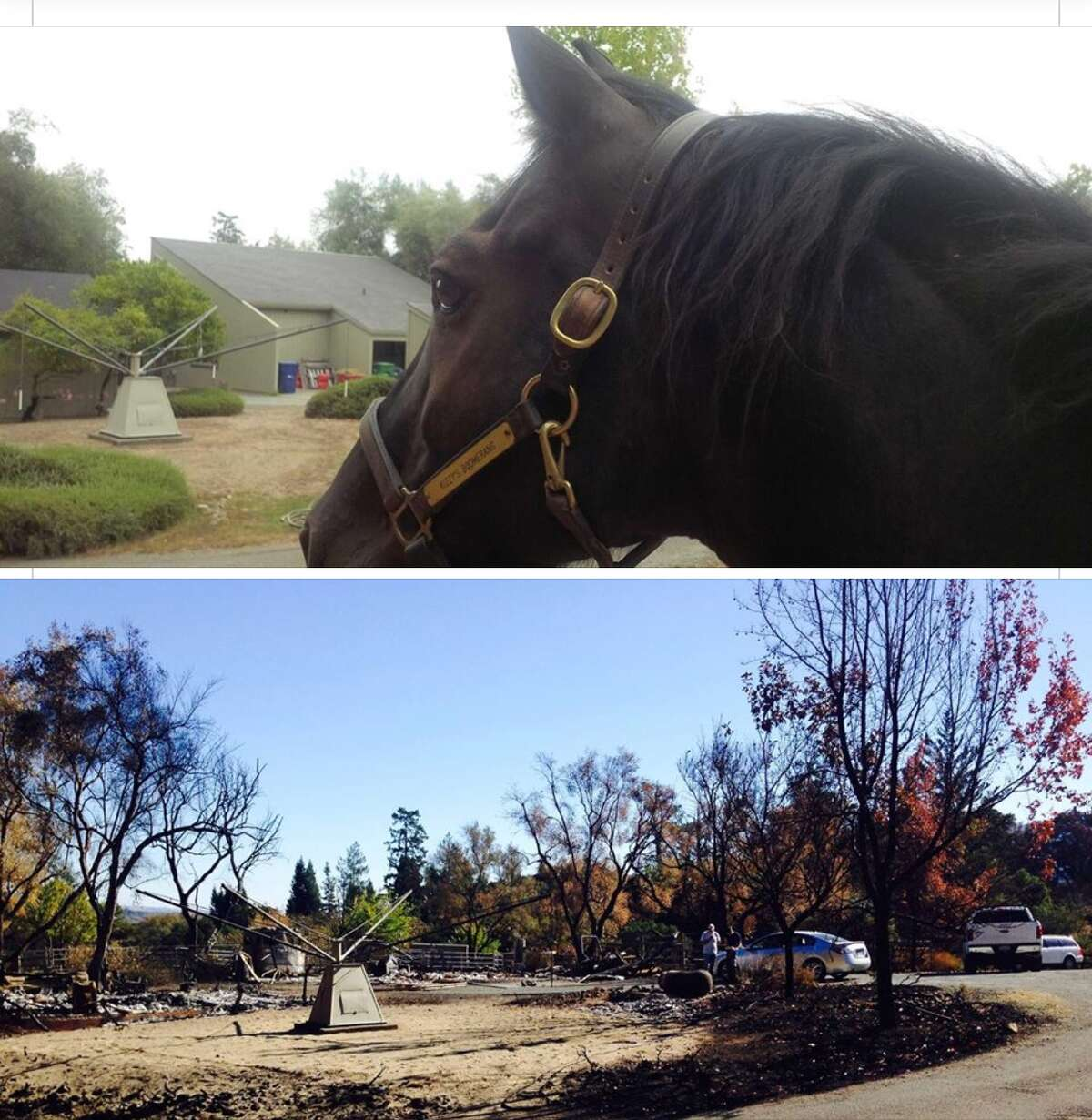 A composite photo shows Barbara Hallford's barn before and after a wildfire ripped through Sonoma County.