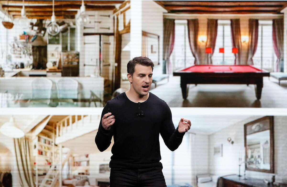 Airbnb co-founder and CEO Brian Chesky speaks during the keynote at the Masonic theater in San Francisco, Calif., on Thursday, February 22, 2018.