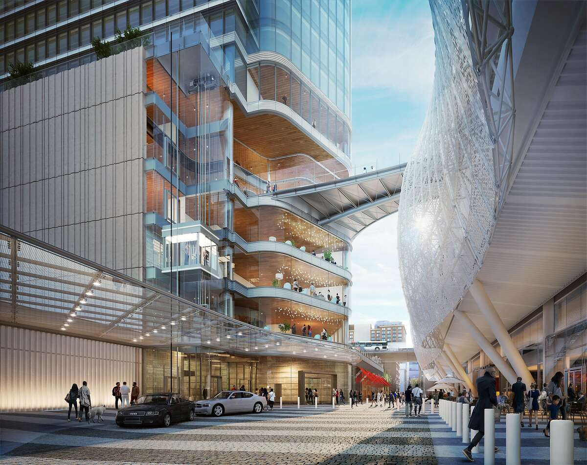 A rendering of the planned Parcel F tower that Salesforce has leased.