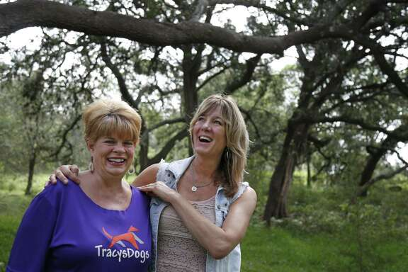Rhonda Harmon, left, and Tracy Voss-Whyatt work together to rescue dogs from South Texas shelters and find them homes in other states. They're shown at the organization's Borgfeld Road site, where there's currently about 105 rescue dogs, mostly from the border.