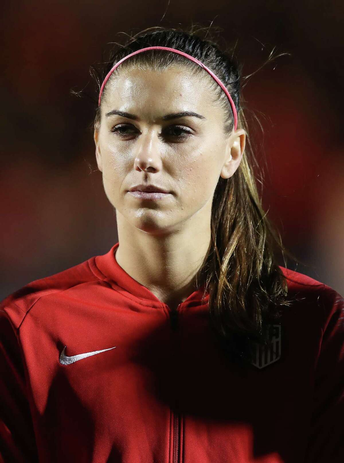 PAISLEY, SCOTLAND - NOVEMBER 13: Alex Morgan of United States looks on during the Women's International Friendly match between Scotland and United States at The Simple Digital Arena on November 13, 2018 in Paisley, Scotland. (Photo by Ian MacNicol/Getty Images)