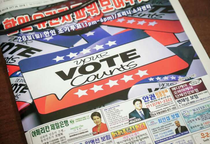 Harris County Clerk Stan Stanart and others from his office met with Korean-American voters at the Korean Community Center, Wednesday, Oct. 31, 2018, in Houston. Several translators had been barred from the Trini Mendenhall Community Center voting location on Sunday.