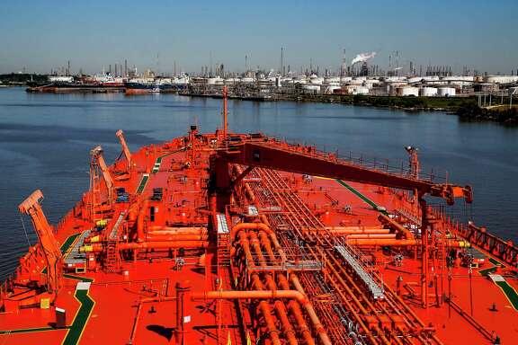 The Bergitta, a crude oil tanker, heads up the Houston Ship Channel on Nov. 2, 2018, in Houston.
