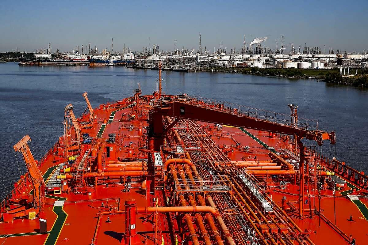 The Bergitta, a crude oil tanker, heads up the Houston Ship Channel Friday, Nov. 2, 2018, in Houston.