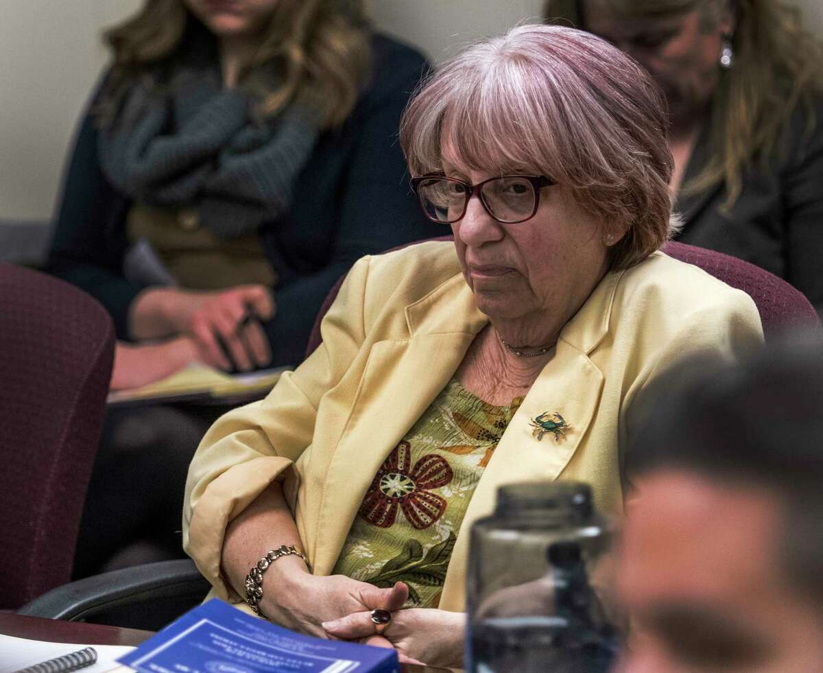 Enforcement Council Risa Sugarman listens intently to the discussions at the New York State Board of Elections Monthly meeting on Thursday, April 5, 2018, in Albany, N.Y. (Skip Dickstein/Times Union)