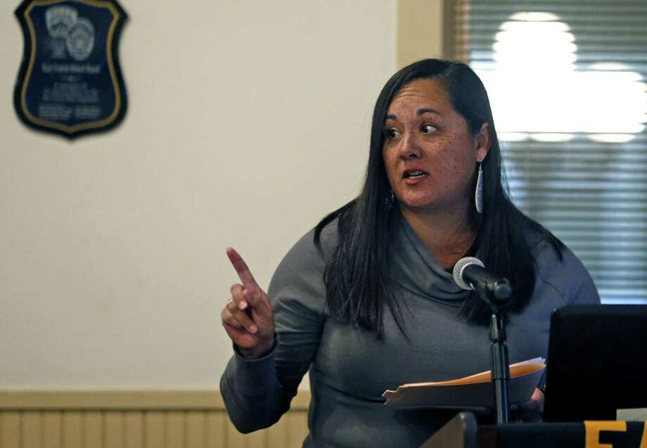 Priscilla Garcia talks against the Guardian Program. East Central ISD is voting on arming staff through the school Guardian Program which allows for staff to carry firearms with or without training through the marshall program. Photos taken on Tuesday, November 13, 2018. Photo: Ronald Cortes /Contributor / / 2018 Ronald Cortes