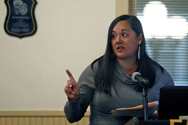 Priscilla Garcia talks against the Guardian Program. East Central ISD is voting on arming staff through the school Guardian Program which allows for staff to carry firearms with or without training through the marshall program. Photos taken on Tuesday, November 13, 2018.
