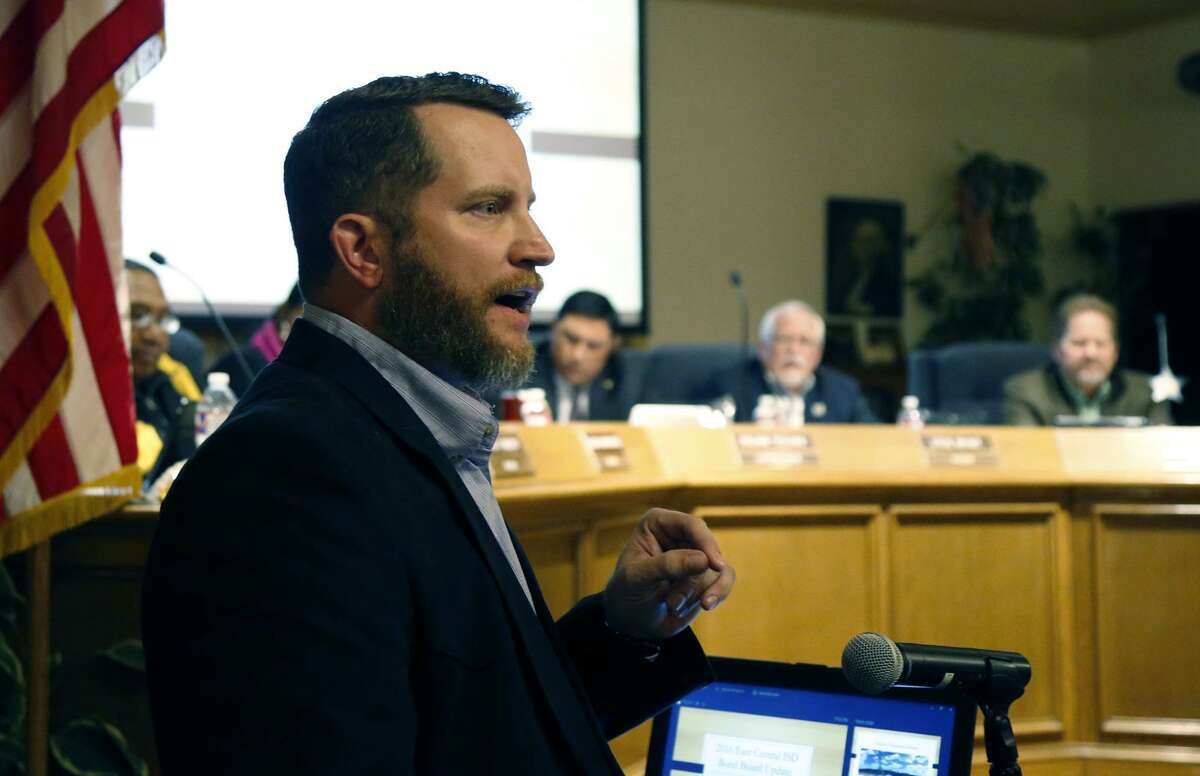 Josh Felker, owner of Lone Star Handgun, talked in favor of the Guardian Program. East Central ISD is voting on arming staff through the school Guardian Program which allows for staff to carry firearms with or without training through the marshall program. Photos taken on Tuesday, November 13, 2018.