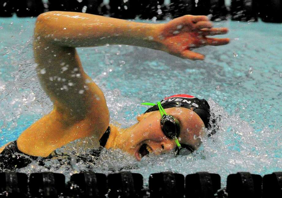 Pomperaug's Eleanor Labriola competes during CIAC swimming championship action at Southern Connecticut State University in New Haven, Conn., on Tuesday Nov. 13, 2018. Photo: Christian Abraham / Hearst Connecticut Media / Connecticut Post