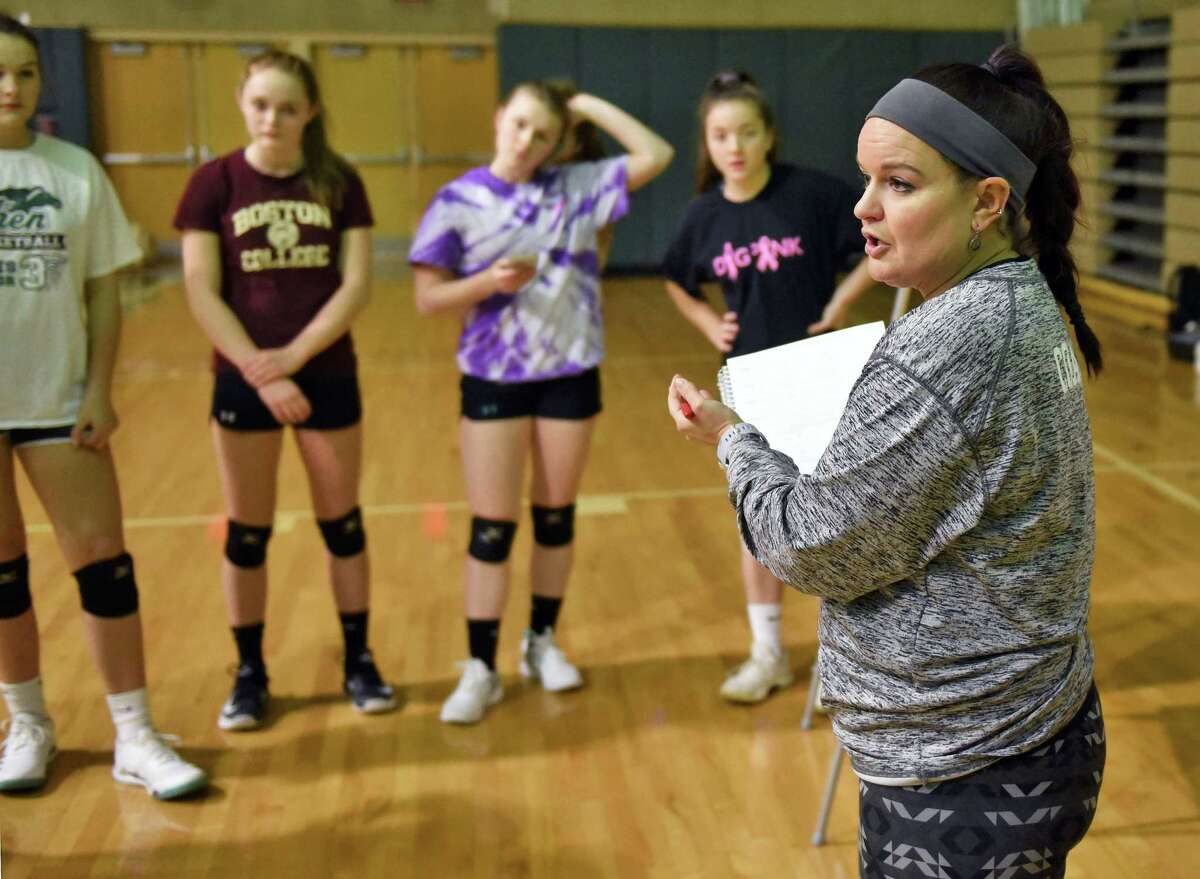 Shenendehowa volleyball' coach Lori Kessler with players during practice Tuesday Nov. 13, 2018 in Clifton Park, NY. (John Carl D'Annibale/Times Union)