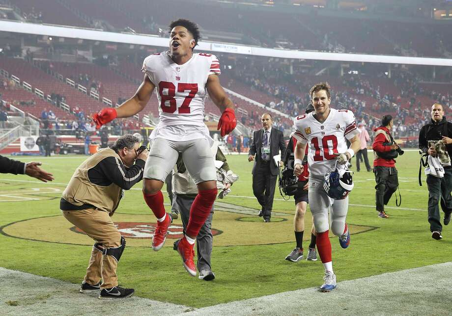 New York Giants wide receiver Sterling Shepard (87) and quarterback Eli Manning (10) celebrate as they run off the field after an NFL football game against the San Francisco 49ers in Santa Clara, Calif., Monday, Nov. 12, 2018. (AP Photo/Tony Avelar) Photo: Tony Avelar / Copyright 2018 The Associated Press. All rights reserved